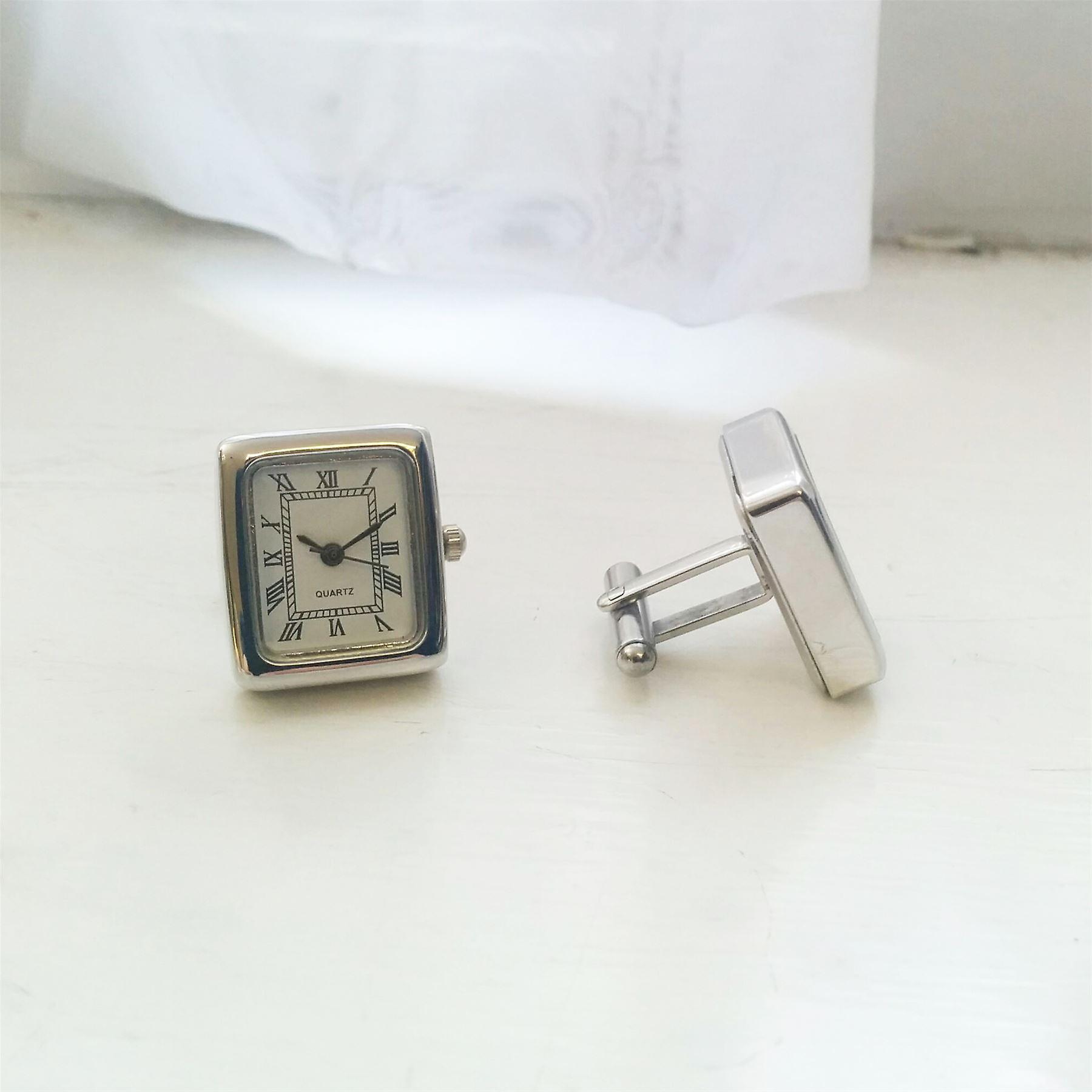Mens Ladies Working Silver Tone Square Clock Watch Cufflinks Wedding Formal Business