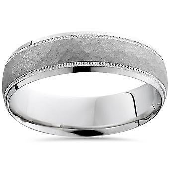 Mens White Gold Hammered Wedding Ring Comfort Band New