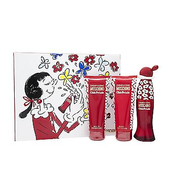 Moschino barato y Chic Chic pétalos Set de regalo 50ml EDT + LOCION 100ml + Gel de ducha 100ml