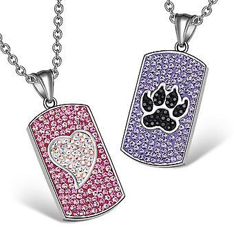 心狼足オーストリア クリスタル愛カップルの最高の友人の犬タグ ピンク白紫黒ネックレス