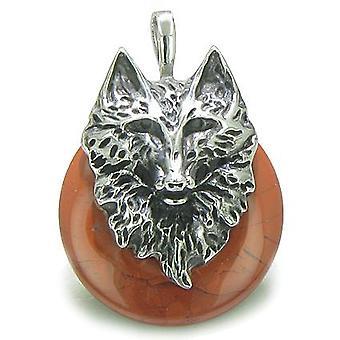 Amulet ulven hodet mot og beskyttelse krefter heldig Donut rød jaspis rustfritt stål anheng