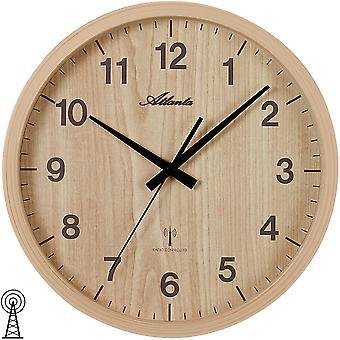 Atlanta 4438/30 ścienny zegar radio radio sterowane ściana zegar analogowy brązowy światło brązowy drewno rozejrzeć