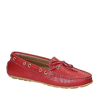 Women's driving moccasins in red full grain leather
