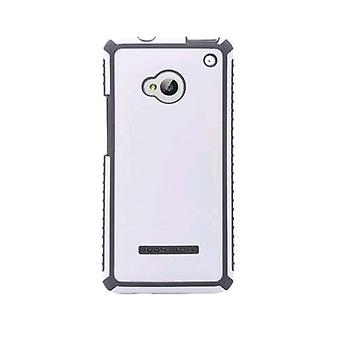 Corpo luva tática escovado caso para HTC One (branco/carvão) - 9342201