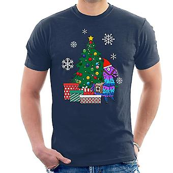 Fortnite Loot Llama Around The Christmas Tree Men's T-Shirt