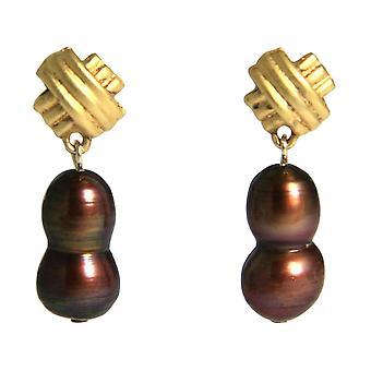 GEMSHINE örhängen barock odlade pärlor 925 silver eller förgyllda Tahiti granat