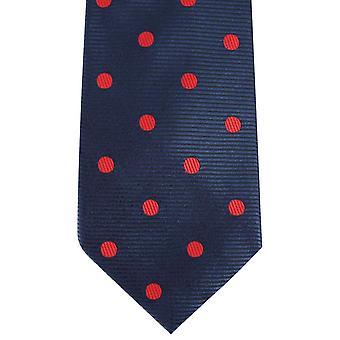 David Van Hagen gerippt Polka Dot Krawatte - dunkelblau/rot