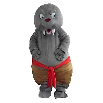 mascot SPOTSOUND of seal, walrus grey, with large teeth