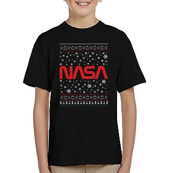 The NASA 1975-1992 Logo Christmas Knit Pattern Kid's T-Shirt