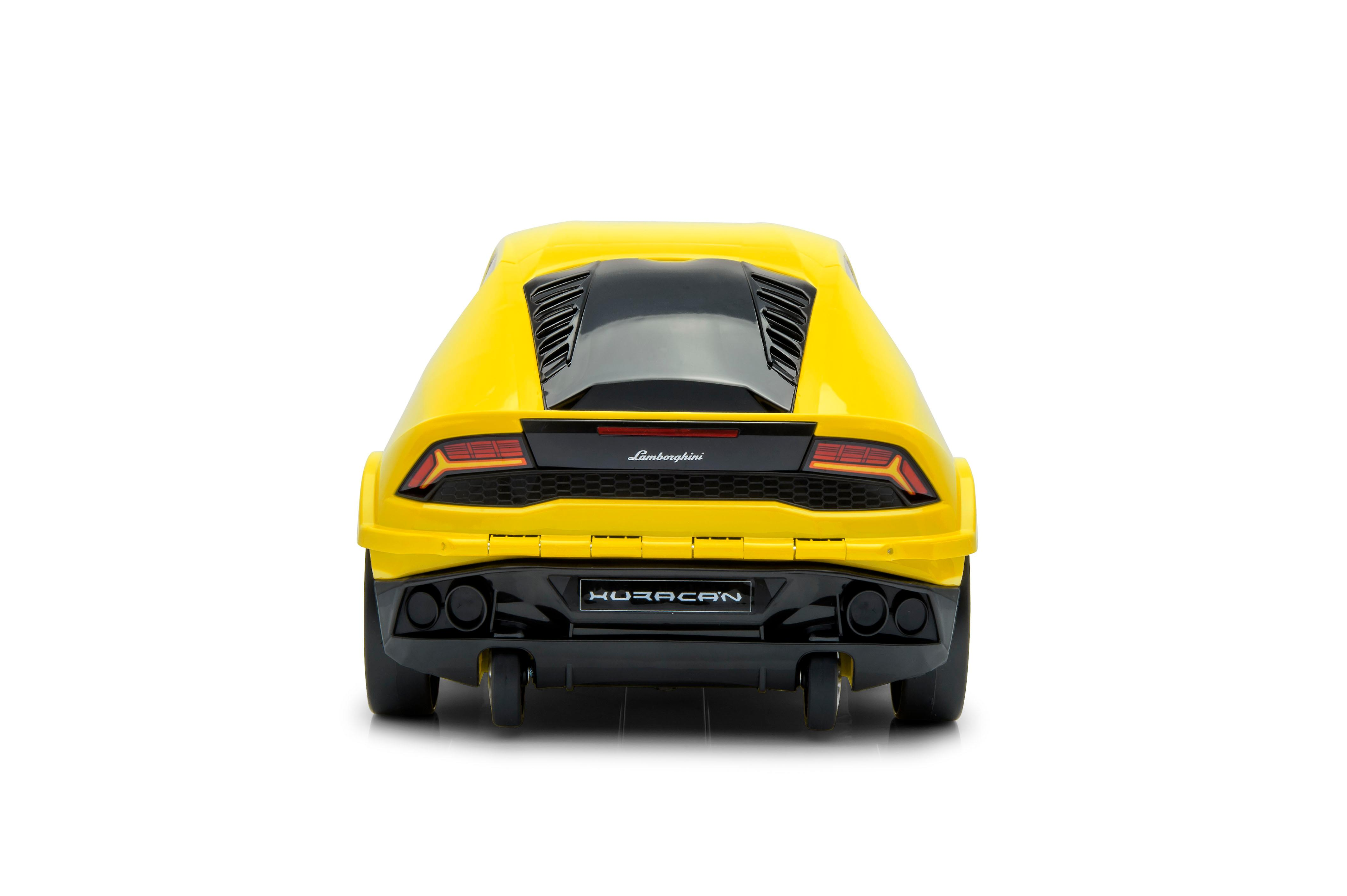 Official Lamborghini Huracan Car Kids Pull-Along Case / Travel Suitcase - Yellow