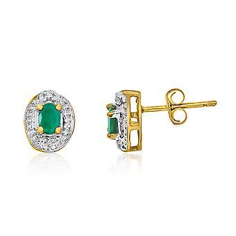 LXR 14k Gelbgold Smaragd Ohrringe mit Diamanten 0.18 ct