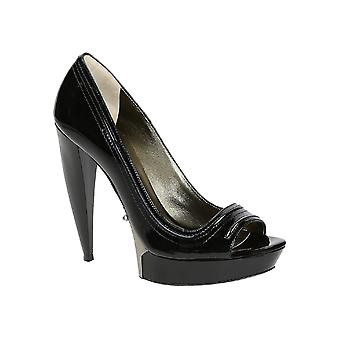 Lanvin peep toe sapatos em couro preto