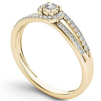 Igi certified 14k yellow gold 0.2 ct round diamond cluster engagement ring