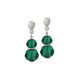 Ewige Sammlung Echo Smaragd Grün österreichischen Kristallsilber Ton Drop Ohrstecker