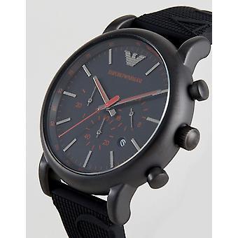 Emporio Armani Men's Luigi Ar11024 Black Silicone Quartz Watch