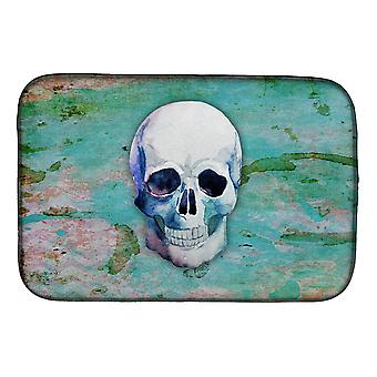 Carolines Treasures  BB5123DDM Day of the Dead Teal Skull Dish Drying Mat