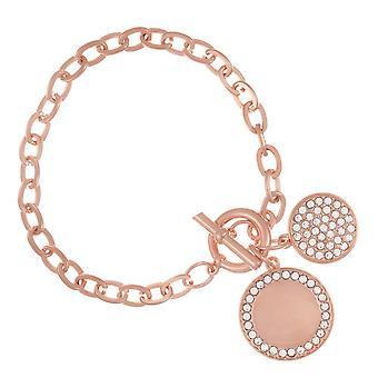 Belle & Beau Rose Gold Plated Double Disc T-Bar Bracelet