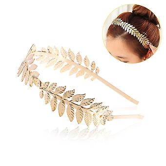 Roman Goddess Leaf Branch Dainty Bridal Hair Crown Dress Boho Headband Alice Band - Gold