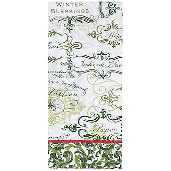 Soho Winter Blessings Green White 28 Inch Printed Kitchen Tea Towel