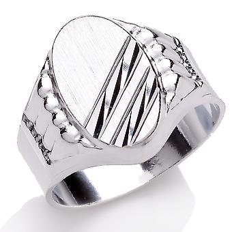 Jewelco London Men's Rhodium Plated Sterling Silver Engraved Oval Signet Ring