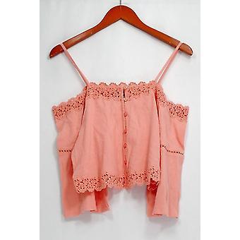 Top Shop Top 3/4 Sleeve Button Down Embellished Cold Shoulder Orange