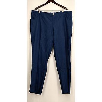 Iman Petite Pants Short Studded Zipper Leg Pockets Blue Womens
