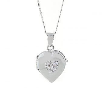 Eeuwigheid 9ct witgoud Cubic Zirconia instellen hart medaillon en 18 ' ' curb chain