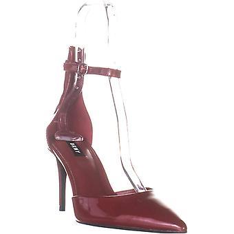 DKNY naisten kiilto nahka nilkka hihna pumput punainen 8 Medium (B, M)
