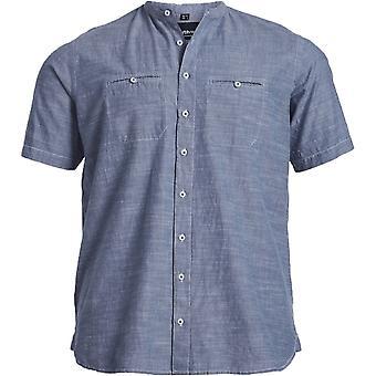 NORTH 56°4 North 56°4 Denim Grandad Collar Short Sleeve Shirt