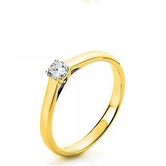 Diamond ring - 18K 750/- Yellow gold - 0.18 ct. Size 54