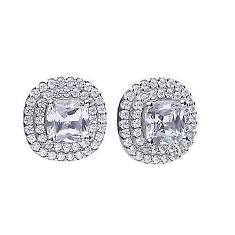 Diamonfire Cushion Cut Double Halo Cubic Zirconia Earrings E5784