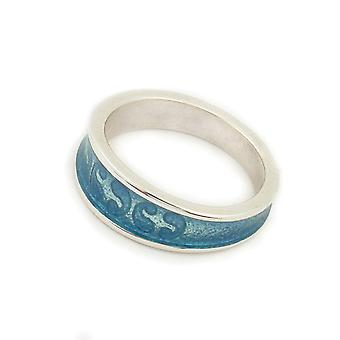 Sterling Silver Traditional Scottish Simply Stylish Blue Enamel Hand Crafted Design Ring