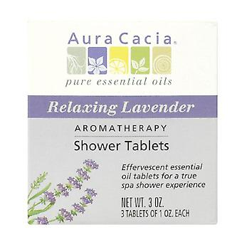 Aura cacia shower tablets, relaxing lavender, 3 ea
