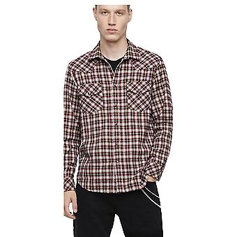 Diesel S-East Long-b camicia rosso/bianco