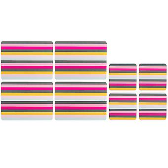 Navigate Gardenia Set of Placemats and Coasters, Stripe