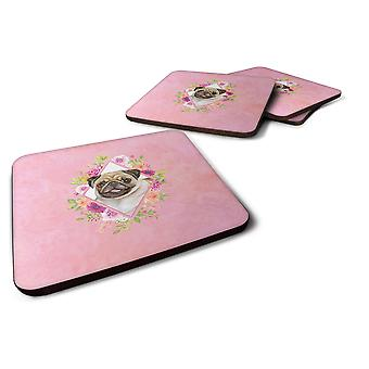 Set of 4 Fawn Pug Pink Flowers Foam Coasters Set of 4