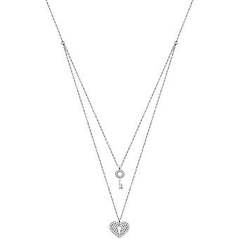Lotus Silver Trendy LP1680-1-1 necklace and pendant - Silver Double Chain C?ur Lock And Cle Femme