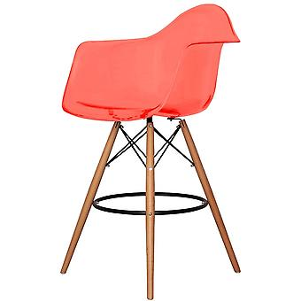 Charles Eames Style Clear Red Plastic Bar Stool With Arms