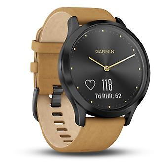 Garmin - Connected Watch - vivomove HR Premium Schwarz-Tan Leder - 010-01850-00