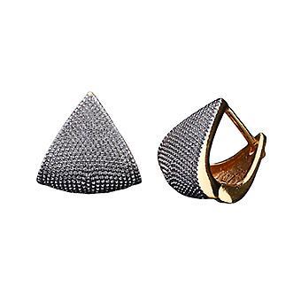 Gold and Silver Geometric Huggie Earrings