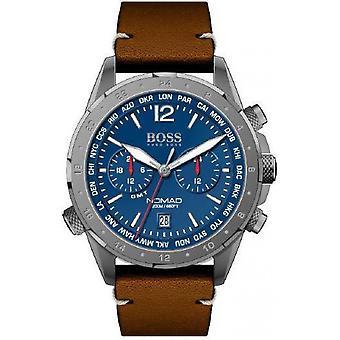 Hugo Boss horloge 1513773-Nomad Chrono Case grijs staal wijzerplaat blauw lederen armband bruin leer