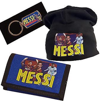Messi Beanie Cap, sleutelhanger & portemonnee pakket