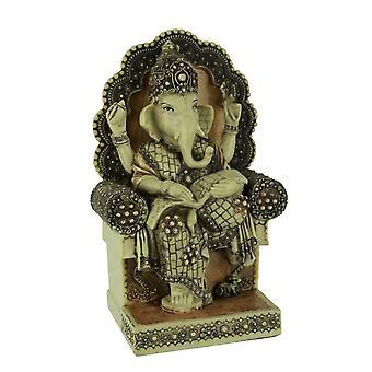 Lord Ganesha Sitting On Throne Reading Secret Scripture Statue
