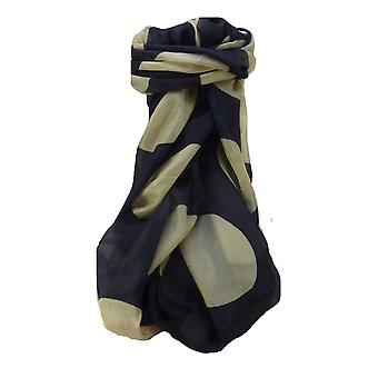 Mulberry Silk Contemporary Long Scarf Kalam Navy by Pashmina & Silk