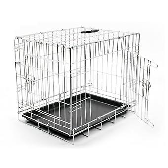 Duvo+ 2 Door Folding Metal Cage 92 X 57 X 64cm (Psy , Transport i podróż , klatki)