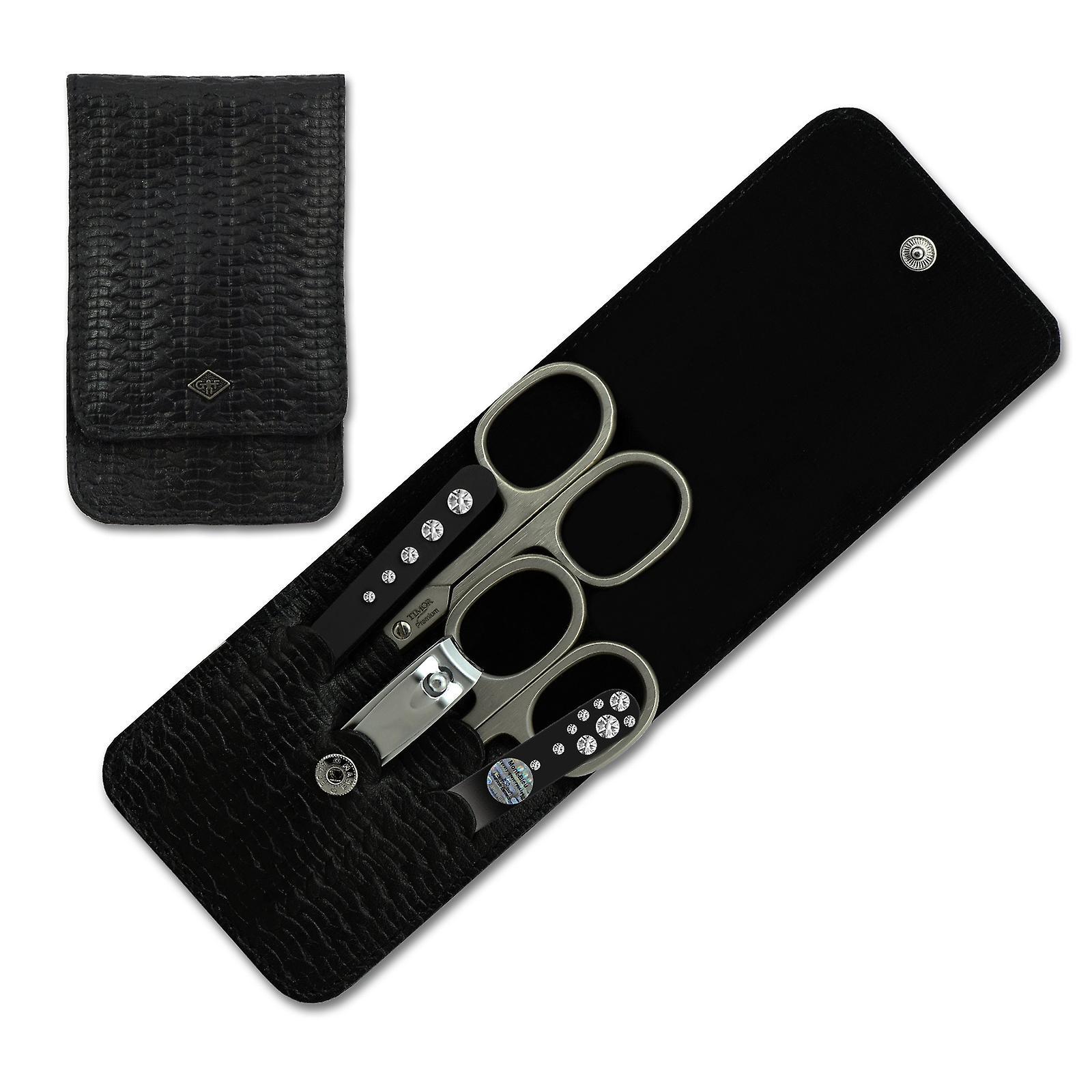 Luxury Solingen 5-Piece Manicure Set for Women with Swarovski crystals in Black Braid Leather Case