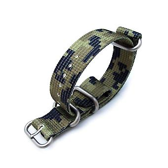 Strapcode n.a.t.o watch strap miltat 21mm 3 rings zulu jb military watch strap 3d woven nylon armband - green camouflage, brushed