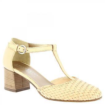 Leonardo Shoes Women&s ręcznie robione mid heels pompy z beżowej tkanej skóry cielęcej