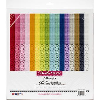 Bella Besties Double-Sided Paper Pad 12-quot;X12-quot; 32/Pkg-Rainbow, 16 Designs/2 Chacun