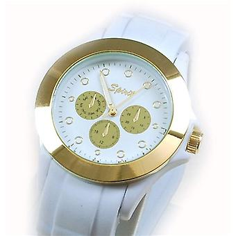 Spirit White & Goldtone Ladies Rubber Strap Sports Watch ASPL36